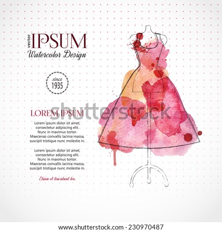 Beautiful evening or cocktail dress on mannequin. Watercolor fashion background. Vector illustration. - stock vector