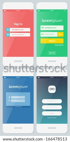 Beautiful Examples of Login Forms for Websites and Apps  - stock vector