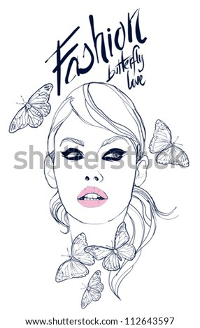 beautiful face with butterflys vector illustration - stock vector