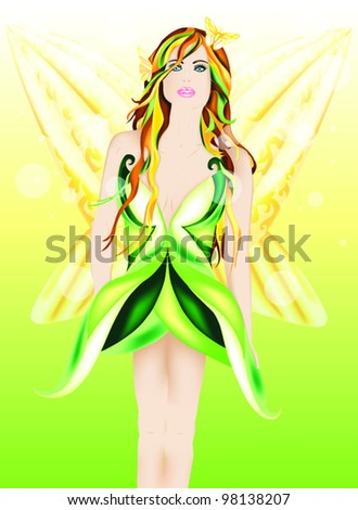 Beautiful fairy of Spring - stock vector