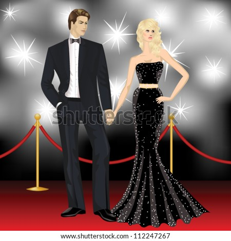 beautiful famous hollywood couple, fashion woman and elegant man on red carpet - stock vector