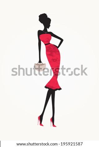 Beautiful fashion woman wearing a red-pink dress - stock vector