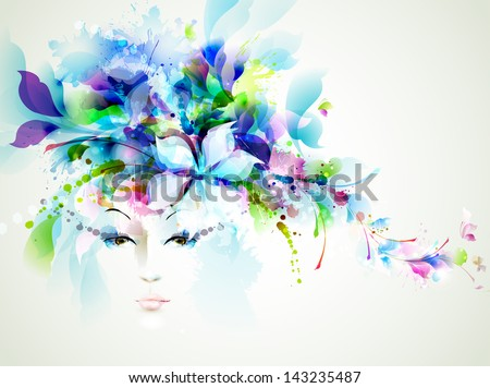 Beautiful fashion women face with abstract  design elements - stock vector
