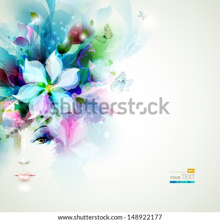 Beautiful fashion women face with natural elements, flowers and butterflies  - stock vector