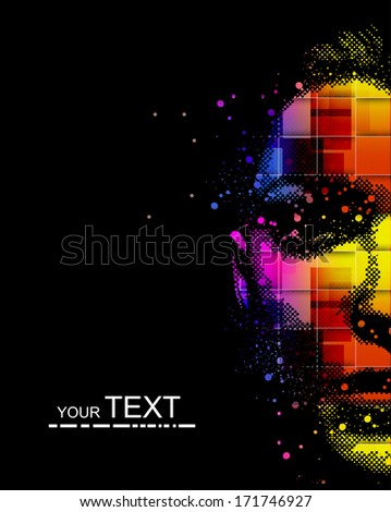 Beautiful fashion women with abstract - stock vector