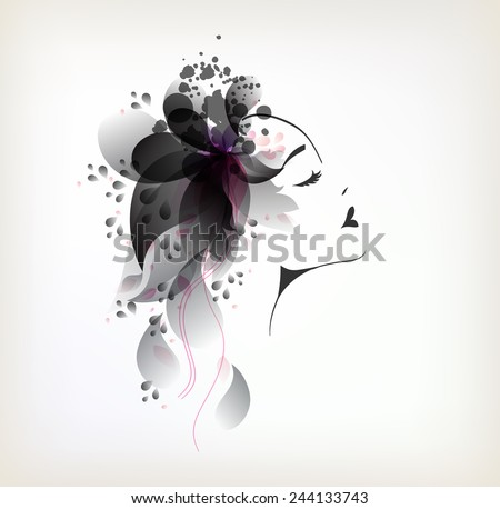 Beautiful fashion women with abstract black flower  - stock vector