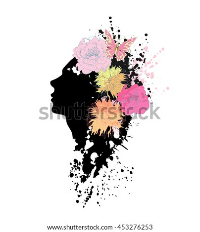 Beautiful fashion women with abstract flowers. - stock vector