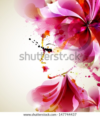 Beautiful fashion women with abstract hair and design elements - stock vector