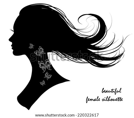beautiful female silhouette - stock vector