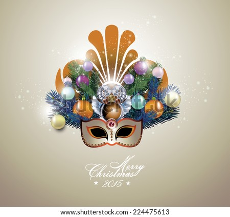 Beautiful festive carnival mask with christmas fir tree - stock vector