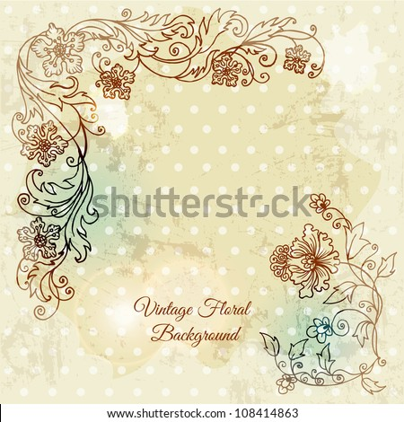 Beautiful floral background, hand drawn retro flowers, leafs and ornaments - in vector - stock vector