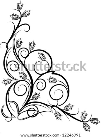 beautiful floral corner - stock vector