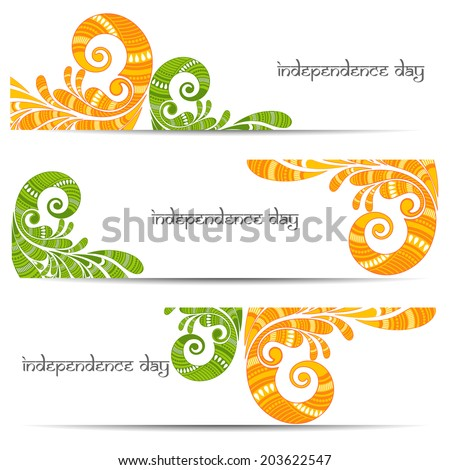Beautiful Floral decorated Indian Independence Day set of banner. - stock vector