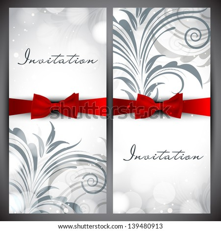 Beautiful floral decorated invitation card. - stock vector