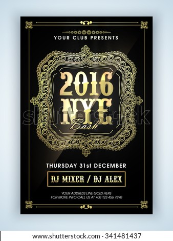 Beautiful floral design decorated Flyer, Banner or Pamphlet design for 2016, Happy New Year Eve celebration. - stock vector