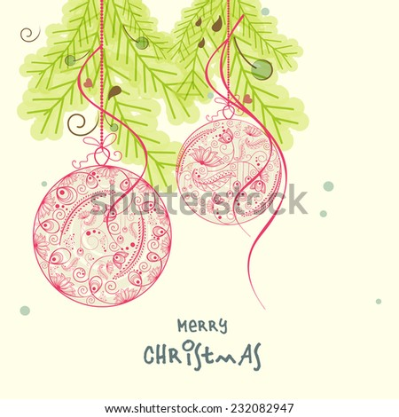 Beautiful floral design decorated hanging X-mas ball with fir trees for Merry Christmas celebrations. - stock vector