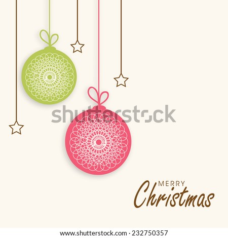 Beautiful floral design decorated hanging X-mas balls with stars for Merry Christmas celebrations. - stock vector