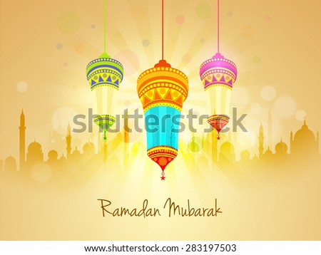 Beautiful floral design decorated traditional hanging lanterns on mosque silhouetted shiny rays background for Islamic holy month of prayers, Ramadan Kareem celebration. - stock vector