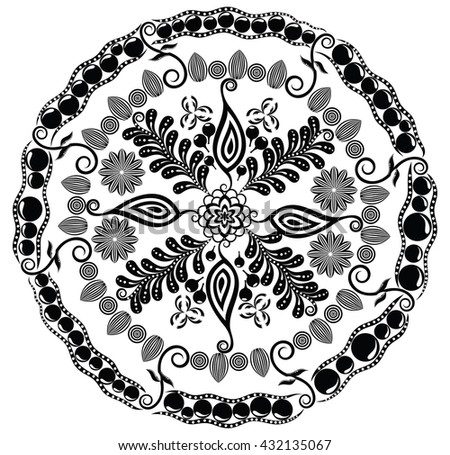 Beautiful floral mandala. Vector illustration for your design. - stock vector