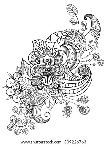 Beautiful floral ornament, Decorative element for design of invitation card, wedding cards or different kind of decoration, doodle ornament, Vector - stock vector