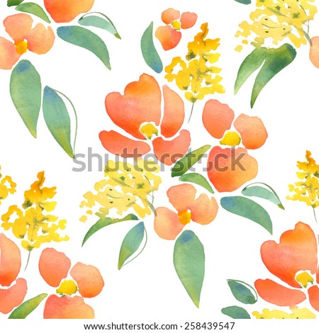 Beautiful floral pattern in vector. Hand drawn watercolor elements 1 - stock vector