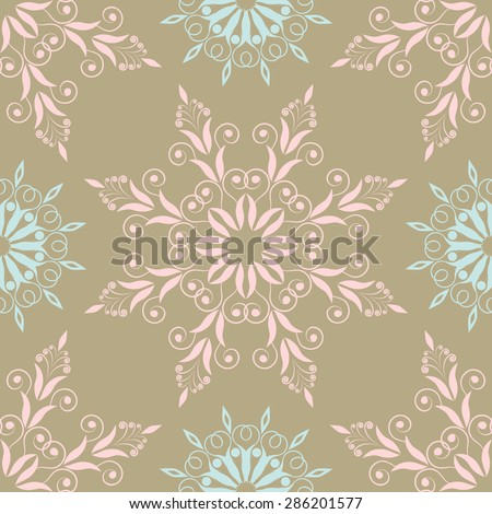 Beautiful floral pattern in vintage colors with blue and pink - stock vector