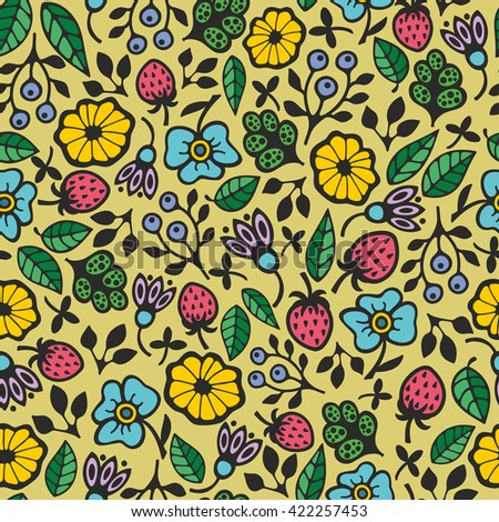 Beautiful floral pattern. Seamless vector background for summer mood. - stock vector