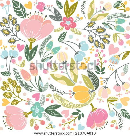 Beautiful floral seamless pattern in gentle colors. Bright illustration, can be used for creating card, invitation card for wedding,wallpaper and textile. - stock vector