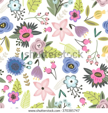 Beautiful floral seamless pattern of lovely flowers. Bright illustration, can be used for creating card, invitation card for wedding,wallpaper and textile.  - stock vector