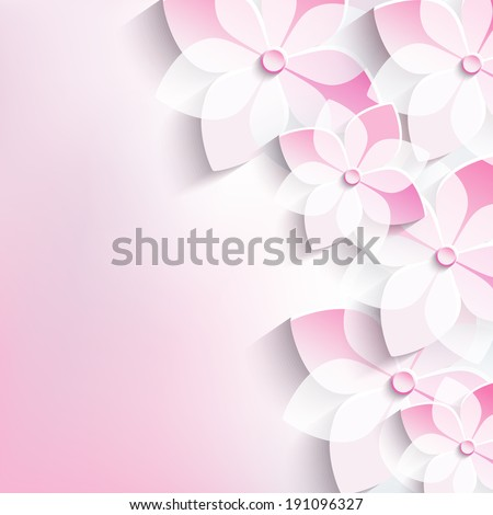 Beautiful floral stylish abstract background with 3d flower sakura. Trendy modern pink background. Greeting or invitation card for wedding, birthday and life events. Vector illustration - stock vector