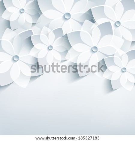 Beautiful floral trendy abstract background with 3d stylized flowers sakura. Stylish modern grey background. Invitation or greeting card for wedding, birthday and life events. Vector illustration - stock vector