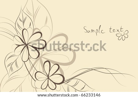 beautiful Floral vector background (brown flowers on light) - stock vector