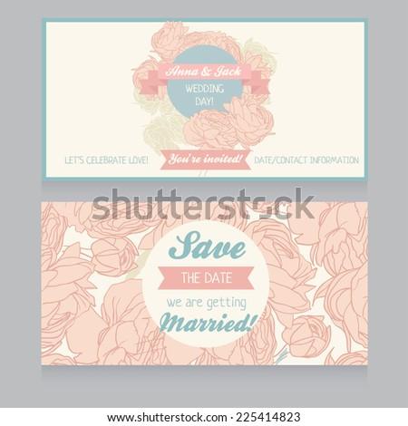 beautiful floral wedding invitation, vector illustration - stock vector