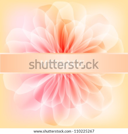 Beautiful flower with satin ribbon - stock vector