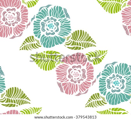 Beautiful flowers are well used in your projects. Seamless background - stock vector