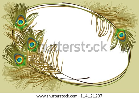 Beautiful frame of peacock feathers. EPS 10 - stock vector
