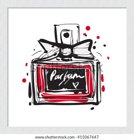 Beautiful french perfume vector hand drawn fashion sketch. Label with glamour vogue french perfume. Isolated element on white backdrop in wooden frame. Fashion vector illustration. - stock vector