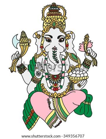 beautiful ganesha idol of wealth and fortune  - stock vector
