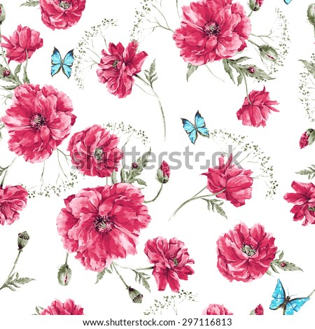 Beautiful gentle watercolor vintage summer seamless pattern with red poppies, blue butterflies and ladybird on white background, watercolor vector illustration - stock vector