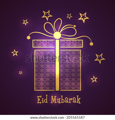 Beautiful gift box on stars decorated purple background for Muslim community festival Eid Mubarak celebrations.  - stock vector