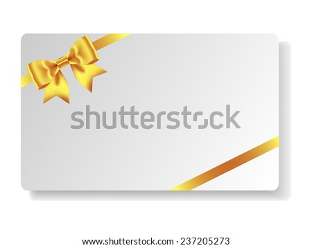 Beautiful gift card with gold bow and ribbons. Vector illustration - stock vector