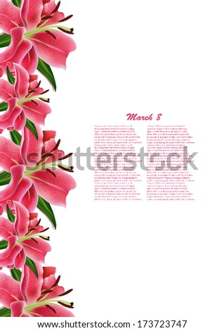 Beautiful gift card with pink lilies , may be used as a Woman's Day congratulation  - stock vector