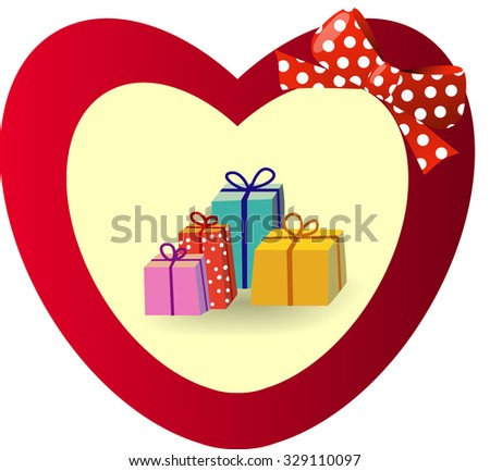 Beautiful gift card with red gift bow and heart and gifts - stock vector