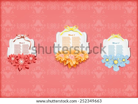 Beautiful gift cards with  paper flowers , may be used as a Woman's Day congratulation  - stock vector