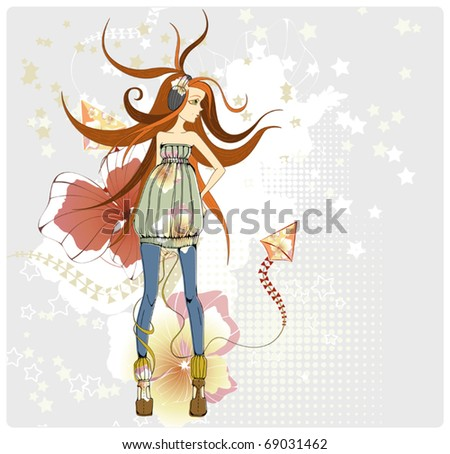 beautiful ginger girl with a kite - stock vector
