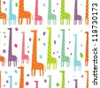 beautiful giraffes seamless pattern - stock vector