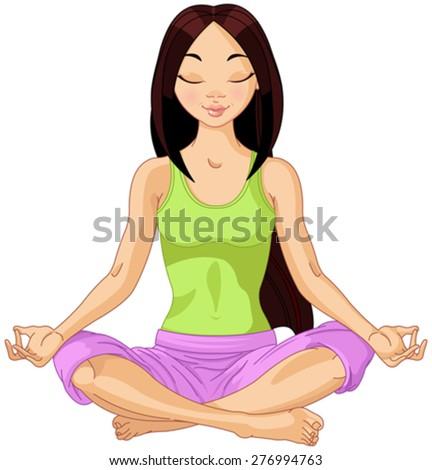 Beautiful girl doing yoga meditation - stock vector