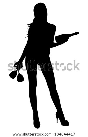 beautiful girl holds bottle and glasses, vector - stock vector