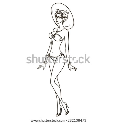 Beautiful girl in a bathing suit on the beach. Vector illustration. - stock vector