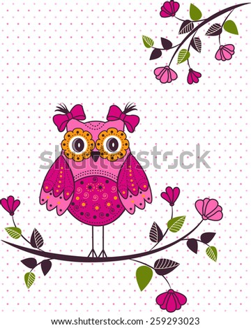Beautiful girl owl on a branch - stock vector